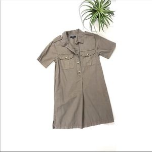 Madewell Khaki button up utility dress